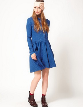 Image 4 ofGanni Long Sleeve Indigo Dress