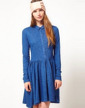 Image 1 ofGanni Long Sleeve Indigo Dress