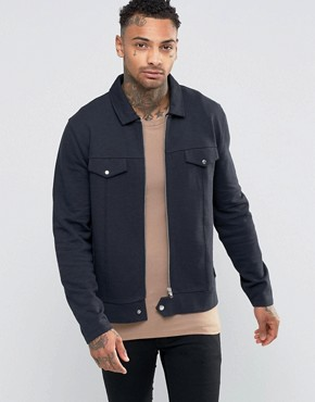 ASOS Jersey Harrington Jacket In Navy