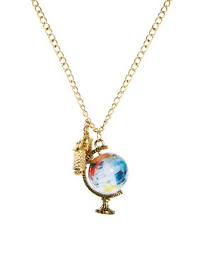 Image 1 ofASOS Spinning Globe &amp; Binoculars Charm Necklace