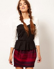 b + ab Contrast Peplum Top