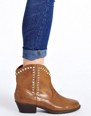 Image 3 ofRiver Island Studded Tan Western Boots