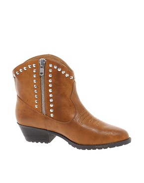 Image 1 ofRiver Island Studded Tan Western Boots