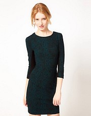 French Connection Mini Jersey Dress with Snake Print