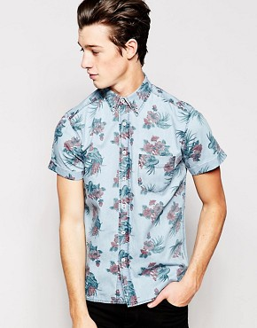 Hoxton Denim Shirt Hawaiian Print Short Sleeves