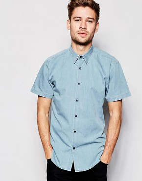 Selected Washed Short Sleeve Denim Shirt