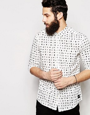 Only & Sons Shirt With All Over Monochrome Print