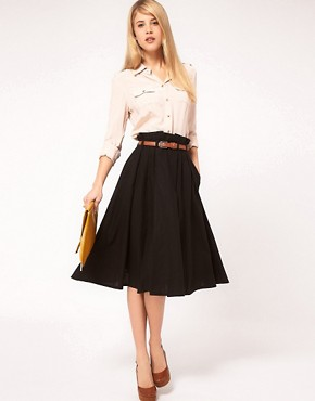 Image 1 ofASOS Linen Midi Skirt With Belt