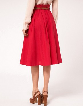 Image 2 ofASOS Linen Midi Skirt With Belt