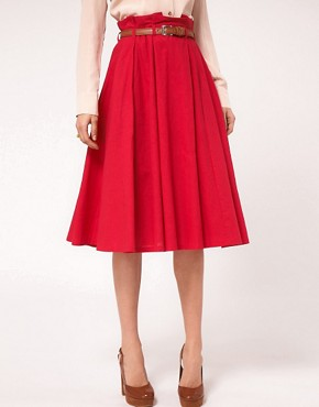 Image 4 ofASOS Linen Midi Skirt With Belt