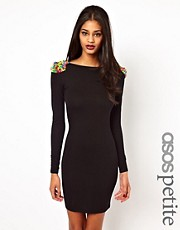 ASOS PETITE Bodycon With Coloured Stud Shoulder