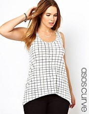 ASOS CURVE Exclusive Swing Vest In Faded Check