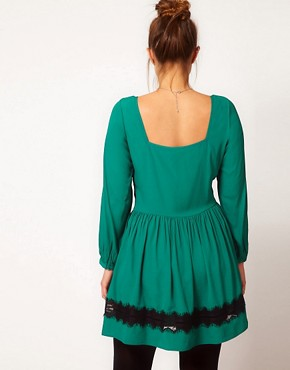Image 2 ofASOS CURVE Skater Dress With Lace Trim