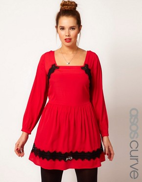 Image 1 ofASOS CURVE Skater Dress With Lace Trim