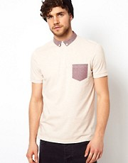 ASOS Polo With Polka Dot Woven Collar And Pocket
