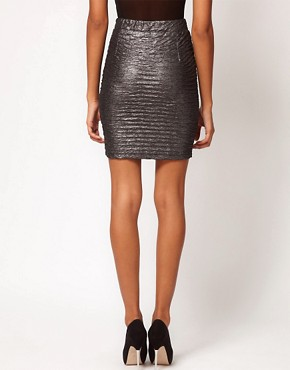 Image 2 ofMotel Metallic Pleat Foil Mini Skirt