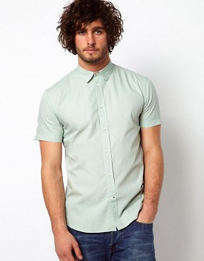 Image 1 ofPaul Smith Jeans Shirt with Short Sleeves &amp; Cross Bandana Print Tailored Fit