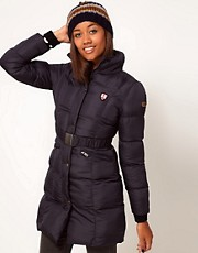 Chaqueta larga con cinturn de Puffa