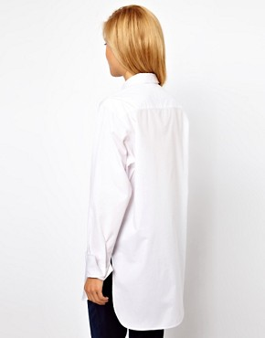 Image 2 ofASOS Boyfriend Shirt with Bib Detail and Side Splits