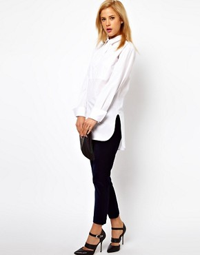 Image 4 ofASOS Boyfriend Shirt with Bib Detail and Side Splits