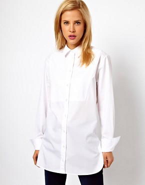 Image 1 ofASOS Boyfriend Shirt with Bib Detail and Side Splits