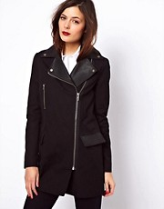 ASOS Leather Collar Cotton Biker Coat