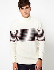 French Connection Chest Stripe Turtle Neck Jumper