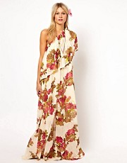 ASOS Maxi Dress With One Shoulder In Floral Print