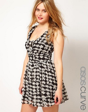 Image 1 ofASOS CURVE Exclusive Playsuit In Mono Geo Print