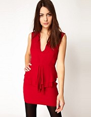 Ganni V Neck Dress with Peplum