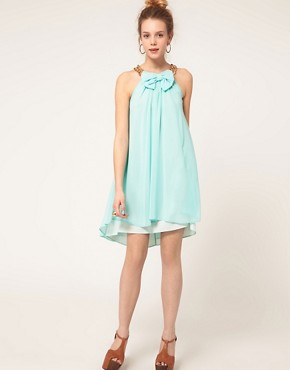 Image 4 ofRiver Island Bow And Chain Dress