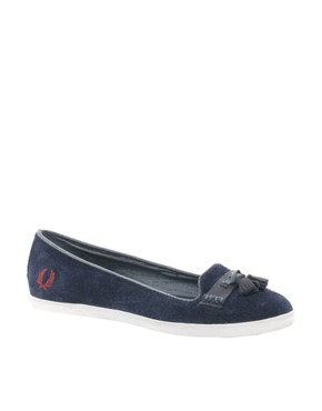 Image 2 ofFred Perry Evelyn Navy Tassle Flat Shoes