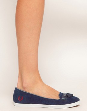 Image 4 ofFred Perry Evelyn Navy Tassle Flat Shoes