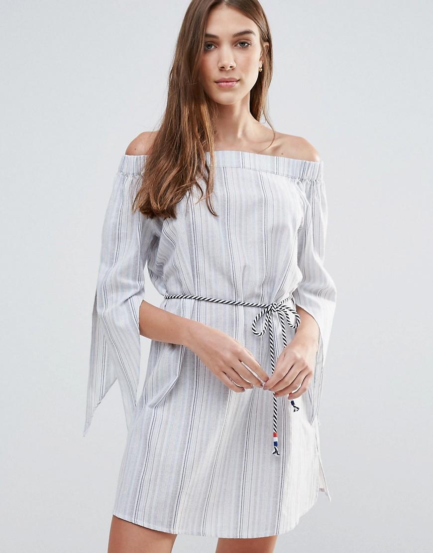 Liquorish Off The Shoulder Striped Dress - Blue