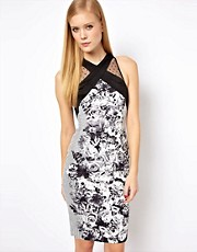 Karen Millen Bodycon Dress in Floral and Spot Print