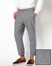 ASOS - Pantaloni slim fit da abito in cotone alla caviglia