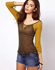 Free People Sheer Layering Baseball Tee