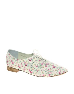 Image 1 ofASOS MEGAN Floral Printed Flat Shoe
