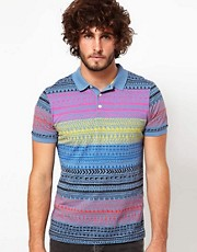 ASOS Polo With Printed Aztec Stripe