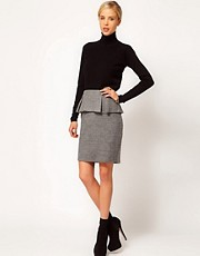 Mango Tweed Peplum Pencil Skirt