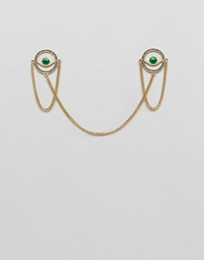 ASOS Eye Collar Tips In Green