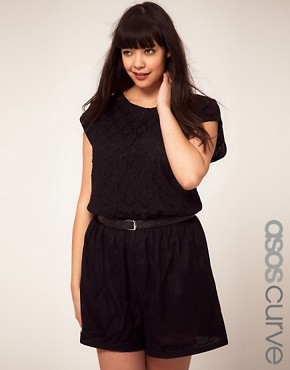 Image 1 ofASOS CURVE Exclusive Playsuit With Lace Bodice