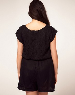 Image 2 ofASOS CURVE Exclusive Playsuit With Lace Bodice