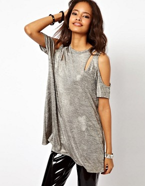 Image 1 ofASOS Top with Cold Shoulder in Metallic Fabric