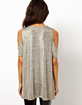 Image 2 ofASOS Top with Cold Shoulder in Metallic Fabric