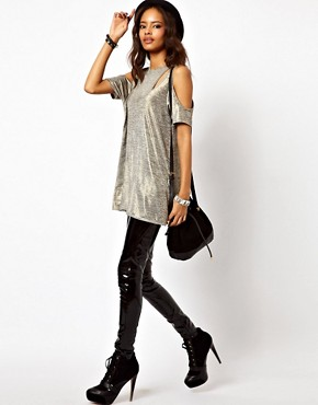 Image 4 ofASOS Top with Cold Shoulder in Metallic Fabric