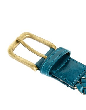 Image 2 ofASOS Teal Plait Belt
