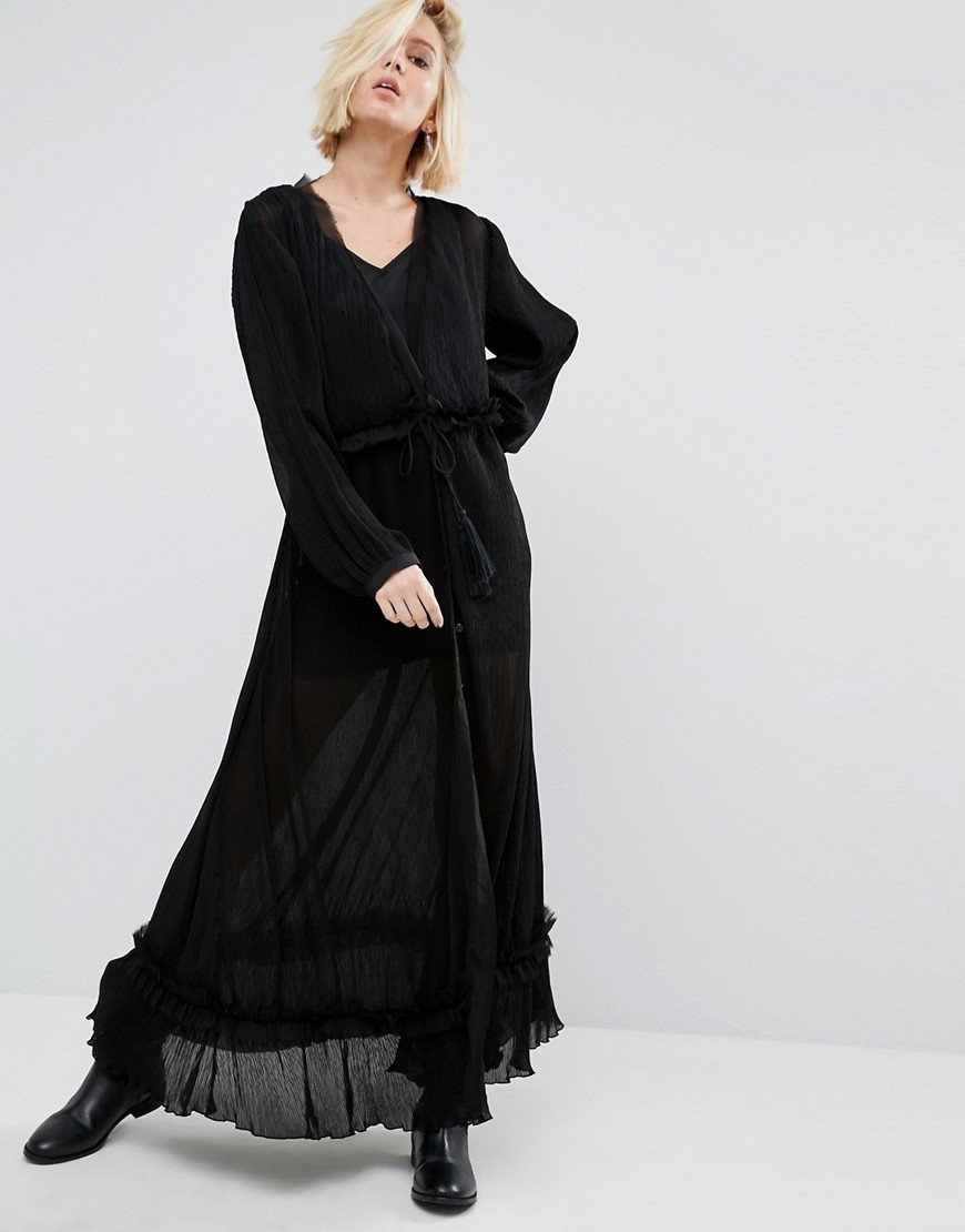 Religion Maxi Smock Dress With Sheer Layers - Black