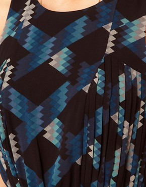 Image 3 ofOasis Geo Print Dress With Hi Low Hem