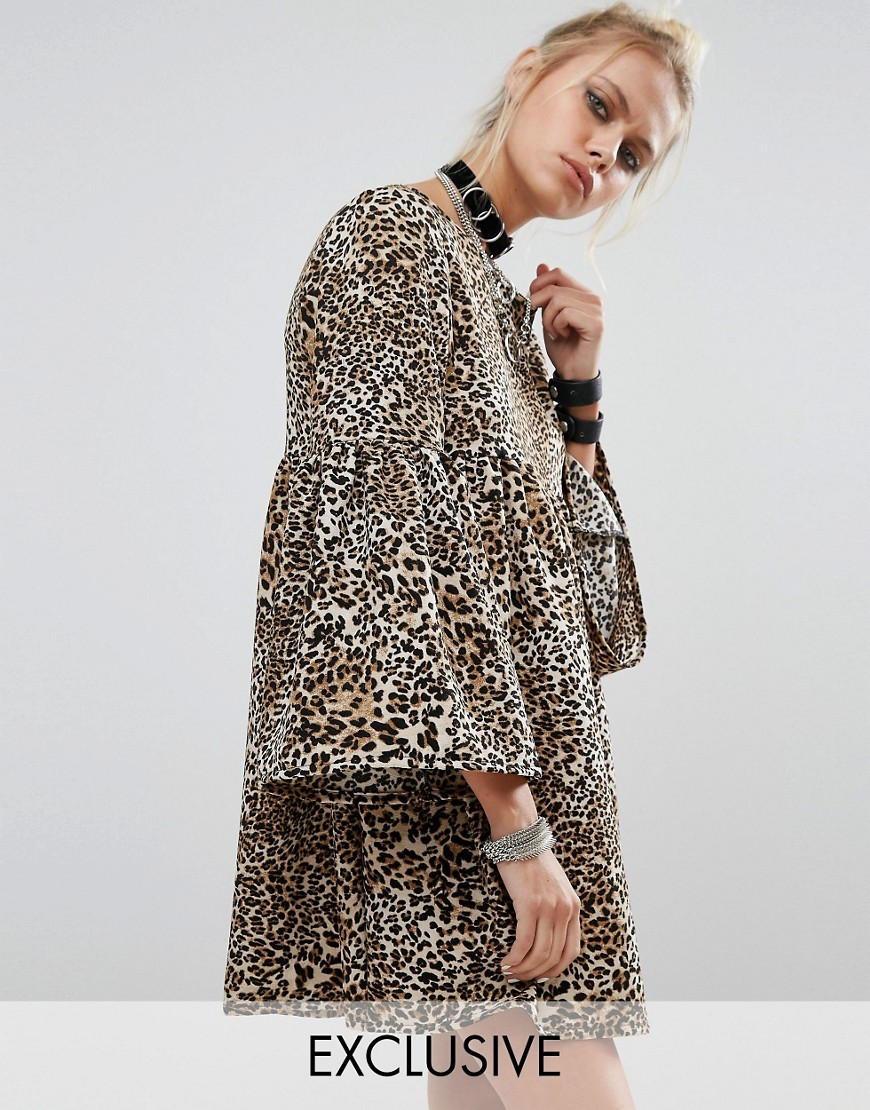 Milk It Peplum Smock Dress In Leopard Print - Multi